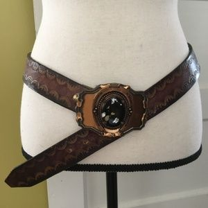 Vintage Tooled Leather Belt with Gemstone Buckle